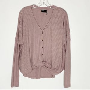 Out From Under Purple Button Down Waffle Knit Top